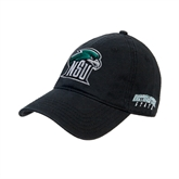 Black Twill Unstructured Low Profile Hat-NSU RiverHawk Head