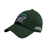 Dark Green Twill Unstructured Low Profile Hat-NSU RiverHawk Head