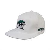 White OttoFlex Flat Bill Pro Style Hat-NSU RiverHawk Head