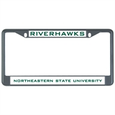 Metal License Plate Frame in Black-Riverhawks