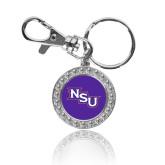 Crystal Studded Round Key Chain-NSU