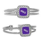 Crystal Studded Cable Cuff Bracelet With Square Pendant-NSU