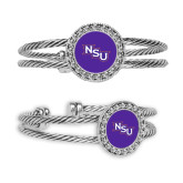 Crystal Studded Cable Cuff Bracelet with Round Pendant-NSU