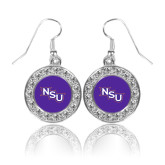 Crystal Studded Round Pendant Silver Dangle Earrings-NSU