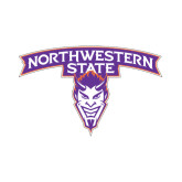 Small Decal-Arched Northwestern State w/Demon Head, 6 inches wide