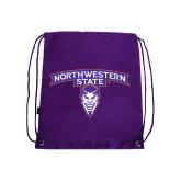 Purple Drawstring Backpack-Arched Northwestern State w/Demon Head