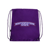 Purple Drawstring Backpack-Arched Northwestern State