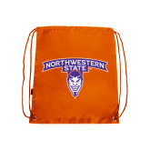 Orange Drawstring Backpack-Arched Northwestern State w/Demon Head