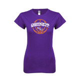 Next Level Ladies SoftStyle Junior Fitted Purple Tee-Demons Basketball Arched