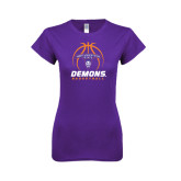Next Level Ladies SoftStyle Junior Fitted Purple Tee-Demons Basketball Stacked