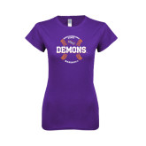 Next Level Ladies SoftStyle Junior Fitted Purple Tee-Demons Baseball Seams