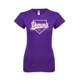 Next Level Ladies SoftStyle Junior Fitted Purple Tee-Demons Baseball Plate Script