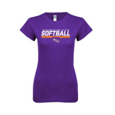 Next Level Ladies SoftStyle Junior Fitted Purple Tee-Softball Stencil w/ Bar