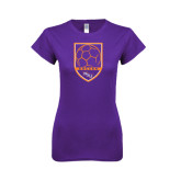 Next Level Ladies SoftStyle Junior Fitted Purple Tee-Soccer Shield