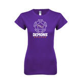 Next Level Ladies SoftStyle Junior Fitted Purple Tee-Demons Soccer Geometric