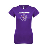 Next Level Ladies SoftStyle Junior Fitted Purple Tee-Demons Volleyball Stacked