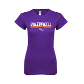 Next Level Ladies SoftStyle Junior Fitted Purple Tee-Volleyball Stencil w/ Bar