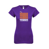 Next Level Ladies SoftStyle Junior Fitted Purple Tee-Tennis Repeating