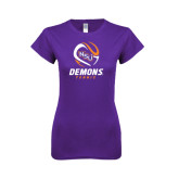 Next Level Ladies SoftStyle Junior Fitted Purple Tee-Tennis Abstract Ball