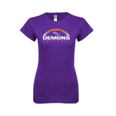 Next Level Ladies SoftStyle Junior Fitted Purple Tee-Demons Football Horizontal