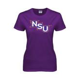 Ladies Purple T Shirt-NSU Distressed