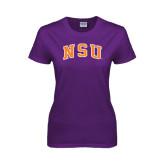 Ladies Purple T Shirt-Arched NSU