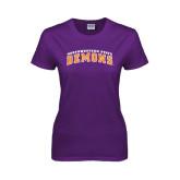 Ladies Purple T Shirt-Arched Northwestern State Demons