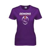 Ladies Purple T Shirt-Demons Football Vertical