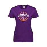 Ladies Purple T Shirt-Demons Basketball Arched