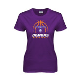 Ladies Purple T Shirt-Demons Basketball Stacked