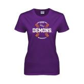 Ladies Purple T Shirt-Demons Baseball Seams
