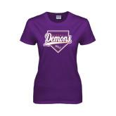 Ladies Purple T Shirt-Demons Baseball Plate Script
