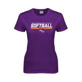 Ladies Purple T Shirt-Softball Stencil w/ Bar