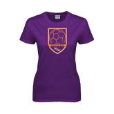 Ladies Purple T Shirt-Soccer Shield