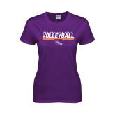 Ladies Purple T Shirt-Volleyball Stencil w/ Bar