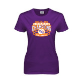 Ladies Purple T Shirt-Womens Basketball Back To Back Champions