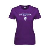 Ladies Purple T Shirt-Arched Northwestern State w/Demon Head
