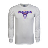 White Long Sleeve T Shirt-Arched Northwestern State w/Demon Head