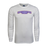 White Long Sleeve T Shirt-Arched Northwestern State
