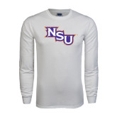 White Long Sleeve T Shirt-NSU Distressed