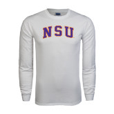 White Long Sleeve T Shirt-Arched NSU