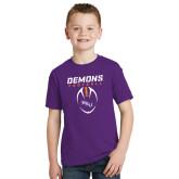 Youth Purple T Shirt-Demons Football Vertical