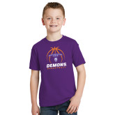 Youth Purple T Shirt-Demons Basketball Stacked