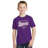 Youth Purple T Shirt-Demons Baseball Plate Script