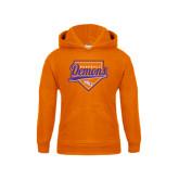 Youth Orange Fleece Hoodie-Demons Baseball Plate Script