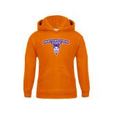 Youth Orange Fleece Hoodie-Arched Northwestern State w/Demon Head