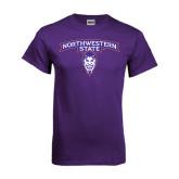 Purple T Shirt-Arched Northwestern State w/Demon Head