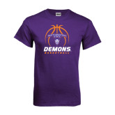 Purple T Shirt-Demons Basketball Stacked