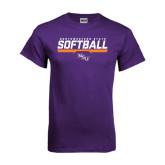 Purple T Shirt-Softball Stencil w/ Bar