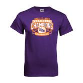 Purple T Shirt-Womens Basketball Back To Back Champions